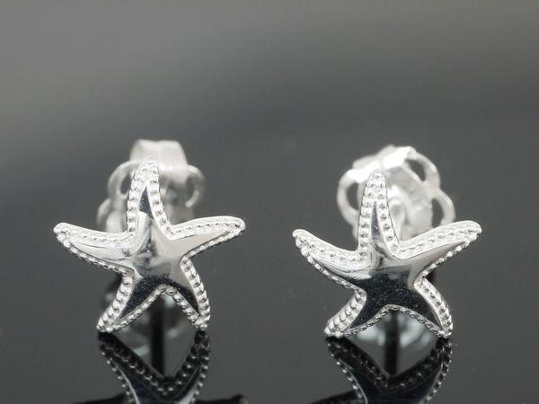 14 Karat Weissgold Ohrschmuck Starfish
