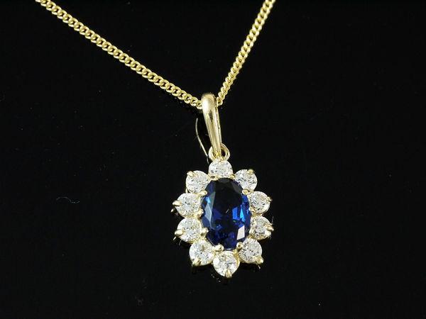 14 Karat Halsketten mit Saphir